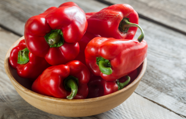 Red Bell Peppers in Bowl