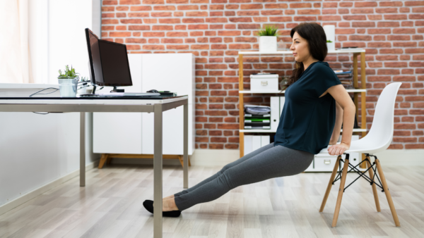 Tricep Dips Find a good chair that won't give up when you push on it. Sit on the chair's edge, gripping the front edge of the chair. Keep your legs straight and heels on the floor and move forward.